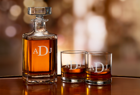 Custom Engraved Bourbon Whiskey monogram decanter