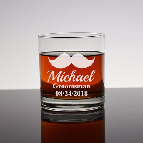 Mustache Engraved Etched Bourbon Whiskey Rocks Glass - Wedding Party Mustache Groomsman Groomsmen Gifts