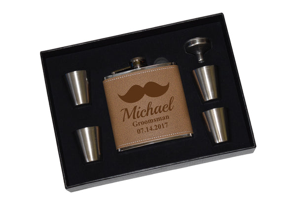 Engraved Leather Flask Gift Set With Shot Glasses And Funnel - Wedding Mustache Personalized