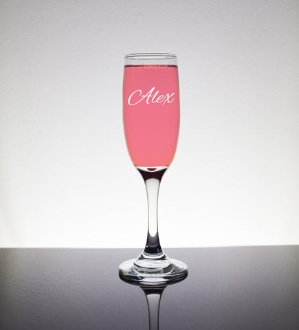 Engraved Etched Champagne Flutes Glass Glasses - Personalized Custom