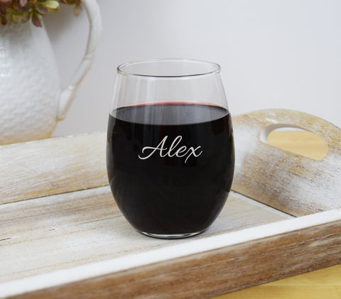Engraved Etched Stemless Wine Glass - Personalized Name