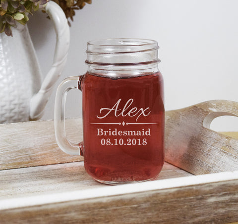 Custom Bridesmaid Mason Jar - Bridesmaid Gift - Bridesmaid Proposal Mason Jar - Custom Bridal Party Mason Jar