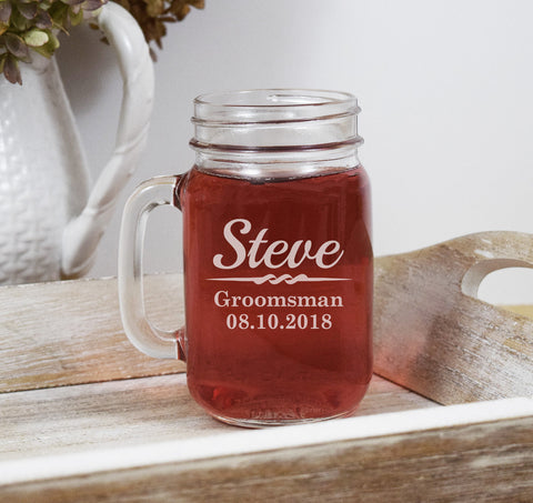 Etched Engraved Mason Jar Mug With Handle - Wedding Party Groomsman Groomsmen Usher Best Man Personalized Wedding Party Gifts