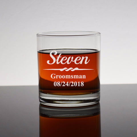 Etched Engraved Bourbon Whiskey Rocks Glass - Wedding Party Groomsman Groomsmen Usher Best Man Personalized Wedding Party Gifts