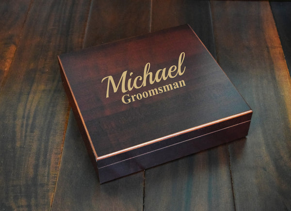 Engraved Etched Wood Box - Groomsman Groomsmen Usher Best Man Father of the Bride Groom Personalized Custom