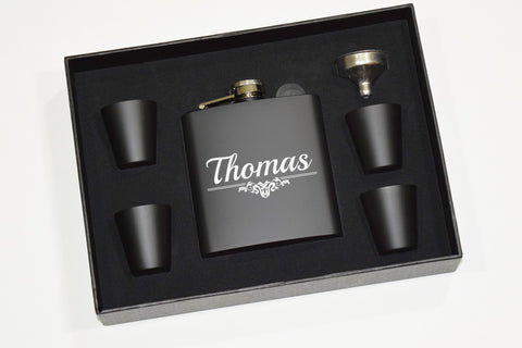 Engraved Etched Flask Gift Set with Shot Glasses and Funnel - Wedding Party Personalized Groomsman Groomsmen Gifts