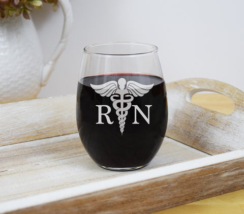 Nurse Engraved Etched Stemless Wine Glass - Nurses RN NP
