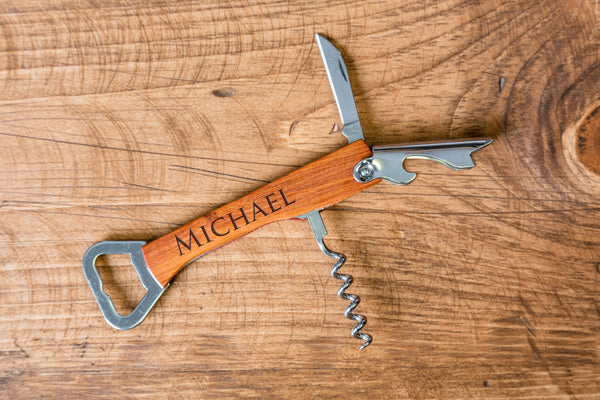 Custom engraved burned wood wooden bottle opener corkscrew groomsmen gift bridesmaid gift