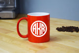 Monogrammed Coffee Mug - Engraved Orange Coffee Mug Circle Monogram