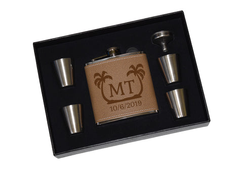 Destination Wedding Vacation Custom Engraved Leather Flask Gift Set With Shot Glasses And Funnel - Palm Trees Personalized