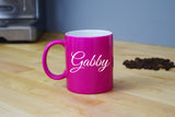 Engraved Etched Pink Coffee Mug - Personalized Custom Customized