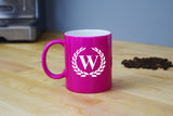 Engraved Etched Pink Coffee Mug - Single Letter Initial Monogram Framed