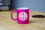 Monogrammed Coffee Mug - Engraved Pink Coffee Mug Circle Monogram