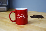 Engraved Etched Red Coffee Mug - Personalized Custom Customized
