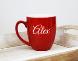 Engraved Etched Bistro Coffee Mug - Red Personalized Custom Name