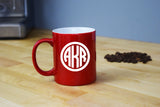Monogrammed Coffee Mug - Engraved Red Coffee Mug Circle Monogram