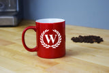 Engraved Etched Red Coffee Mug - Single Letter Initial Monogram Framed