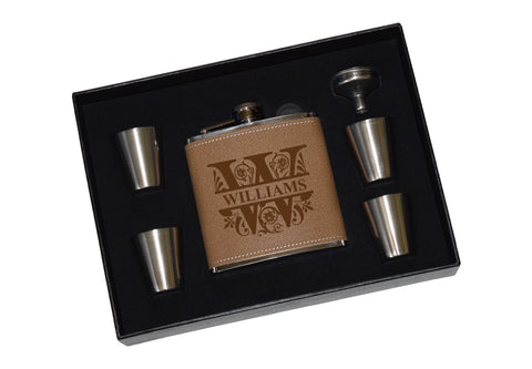Engraved Leather Flask Gift Set With Shot Glasses And Funnel - Monogram Split Letter Personalized
