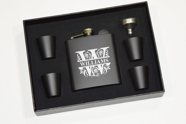 Engraved Etched Bourbon Whiskey Flask Gift Set Black With Shot Glasses and Funnel - Monogram Split Letter Initial Personalized Name