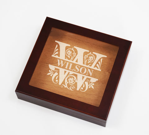 Engraved Etched Cigar Humidor Box Cigar Aficionado Regal Split Letter Personalized Custom Family Gifts
