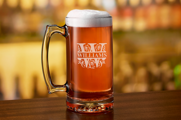 Custom engraved last name beer mug