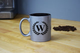 Engraved Etched Silver Coffee Mug - Single Letter Initial Monogram Framed