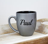 Engraved Etched Bistro Coffee Mug - Silver Personalized Custom Name