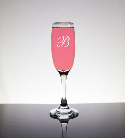 Custom Engraved Champagne Flutes Glass Glasses - Personalized Initial Monogram