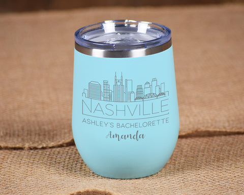 Personalized Nashville Charleston Miami Bachelorette Stemless Wine Tumbler with City Skyline