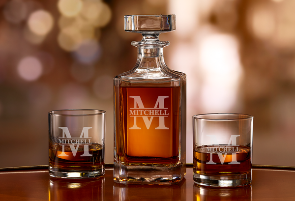 Custom Engraved Whiskey Bourbon Decanter - Split Letter Monogram