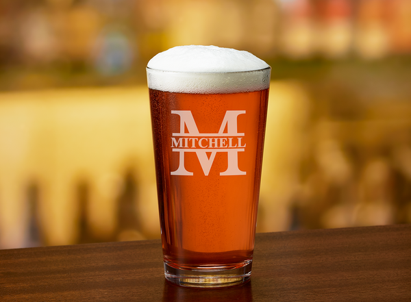 Custom Engraved Beer Pint Glass - Marion Split Letter Monogram