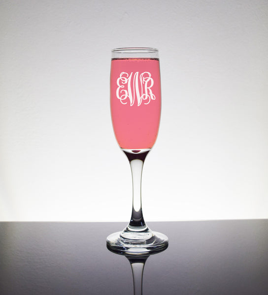 Engraved Etched Champagne Toasting Flutes Glasses Glass - Personalized Initials Vine Monogram