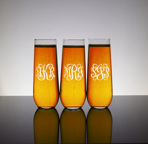 Stemless Monogram Champagne Glasses Custom for Bridal Party