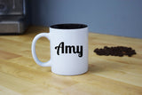 Engraved Etched White Coffee Mug - Personalized Custom Customized