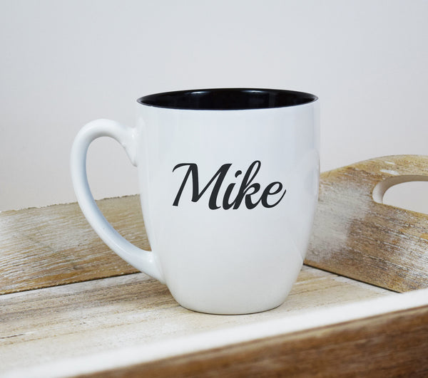 Engraved Etched Bistro Coffee Mug - White Personalized Custom Name