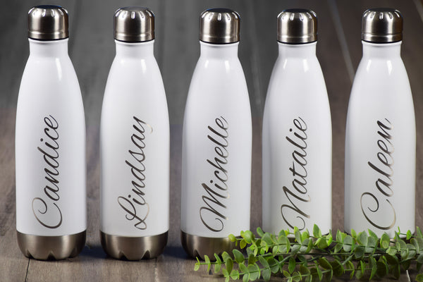 Custom engraved steel swell water bottle with script name bridal gift bridesmaid gift white tumblers