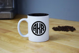 Monogrammed Coffee Mug - Engraved White Coffee Mug Circle Monogram