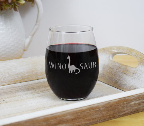 Winosaur Wine Glass engraved Etched Funny Stemless Wine Glass - Wino Saur Dinosaur