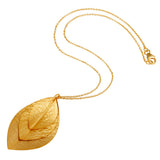 22K Gold Plated Sterling Silver Three Leaf Necklace - Sumana