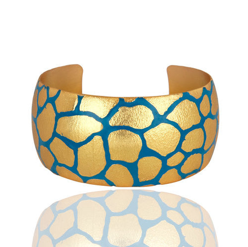 18K Yellow Gold Plated Bridal Wide Cuff Bangle Bracelets With Enamel Paint - Sumana