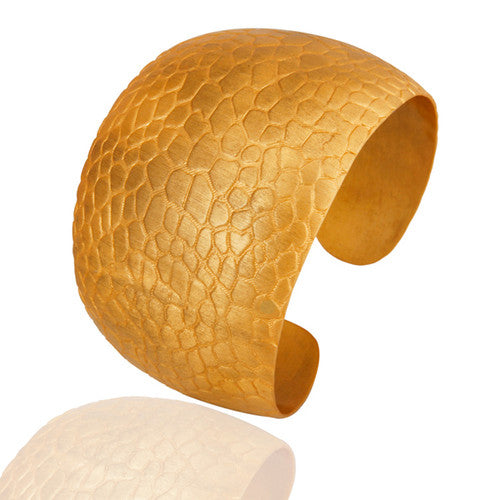 18K Yellow Gold Plated Over Brass Textured Wide Cuff Bracelet / Bangle - Sumana