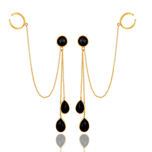 18K Yellow Gold Plated Sterling Silver Black Onyx Womens Ear Cuff Earrings - Sumana