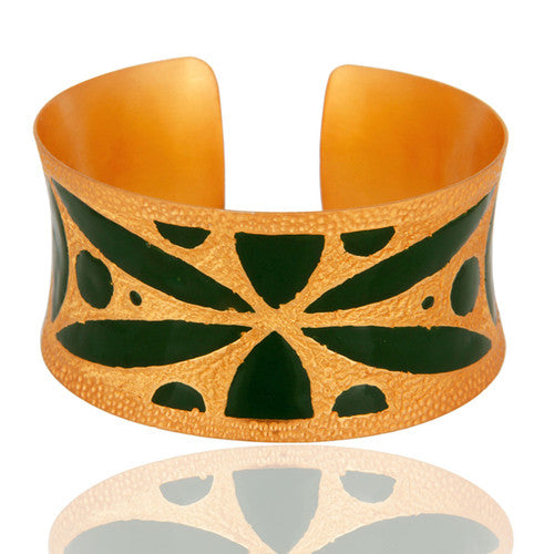 18k Yellow Gold Overlay Brass Textured Hammered Wide Cuff Bracelet With Enamel - Sumana