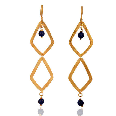 18k Yellow Gold Vermeil 925 Sterling Silver Lapis Lazuli Gemstone Dangle Earring - Sumana