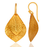 22k Gold Plated Leaf Earrings - Sumana
