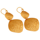22ct Gold Plated Sterling Silver Textured Earrings - Sumana