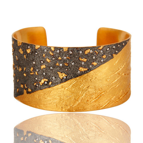 24K Yellow Gold And Oxidized Plated Brass Wide Cuff Bracelet / Bangle With CZ - Sumana