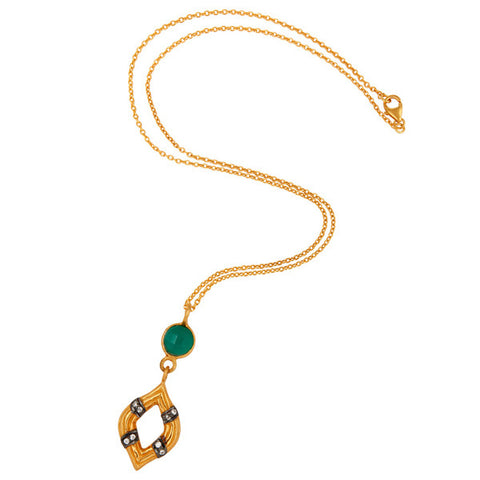 18K Gold Vermeil Sterling Silver Gemstone Pendant With Green Onyx & Zircon - Sumana