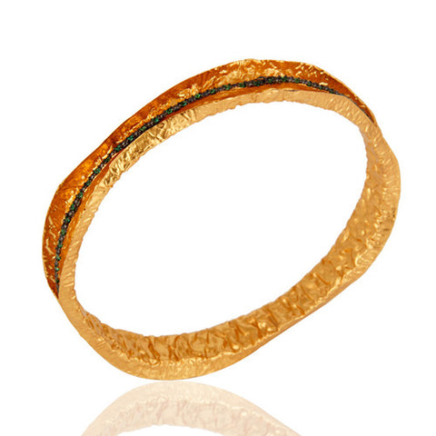 24K Yellow Gold Vermeil Artisan Made Designer Bangle With Green Cubic Zirconia - Sumana