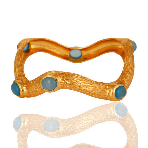 Aqua Blue Chalcedony 18K Yellow Gold Vermeil Designer Textured Bangle - Sumana